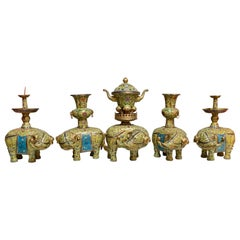 Five Piece Elephant Chinese Yellow and Blue Cloisonne and Gilt Bronze Alter Set