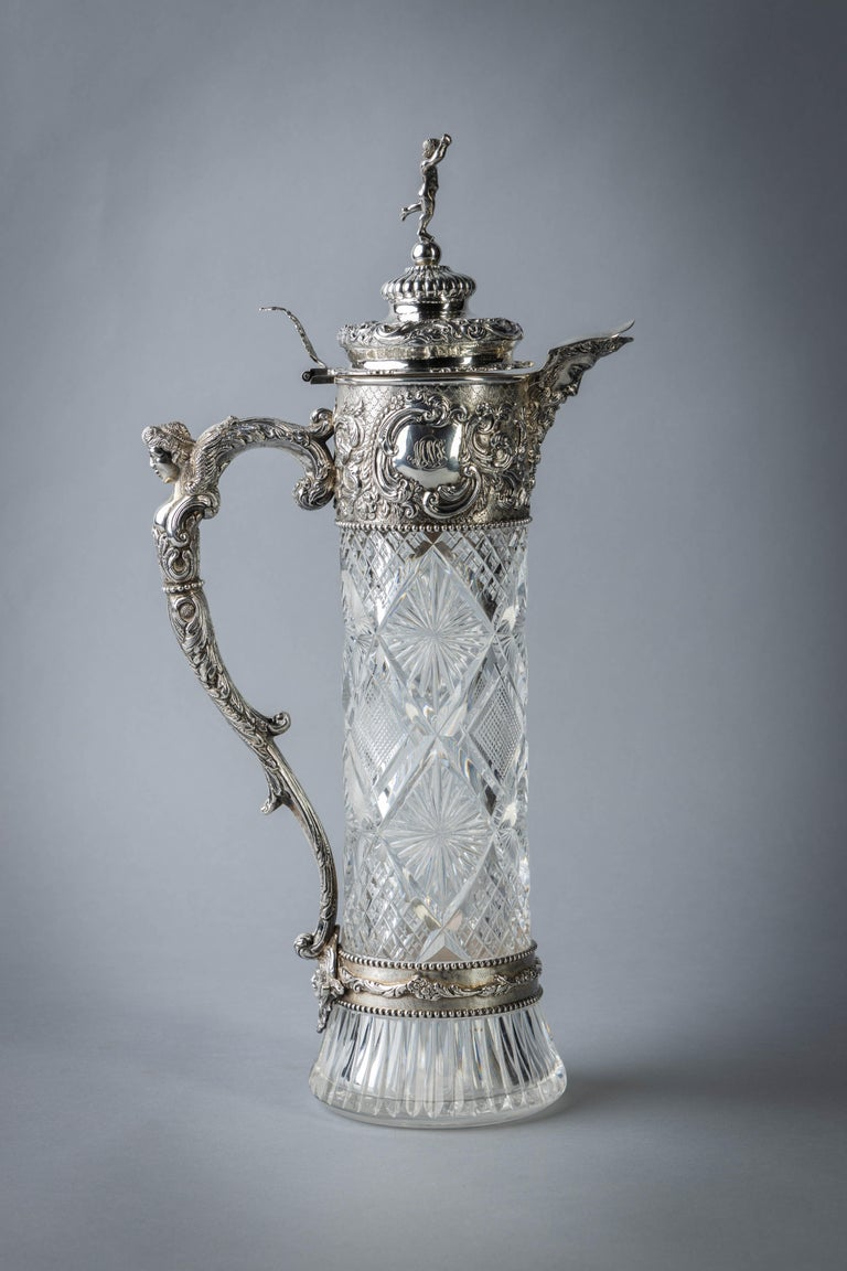 Very Fine Continental Silver and Cut Crystal Pitcher, Dutch, circa 1880 In Good Condition For Sale In New York, NY