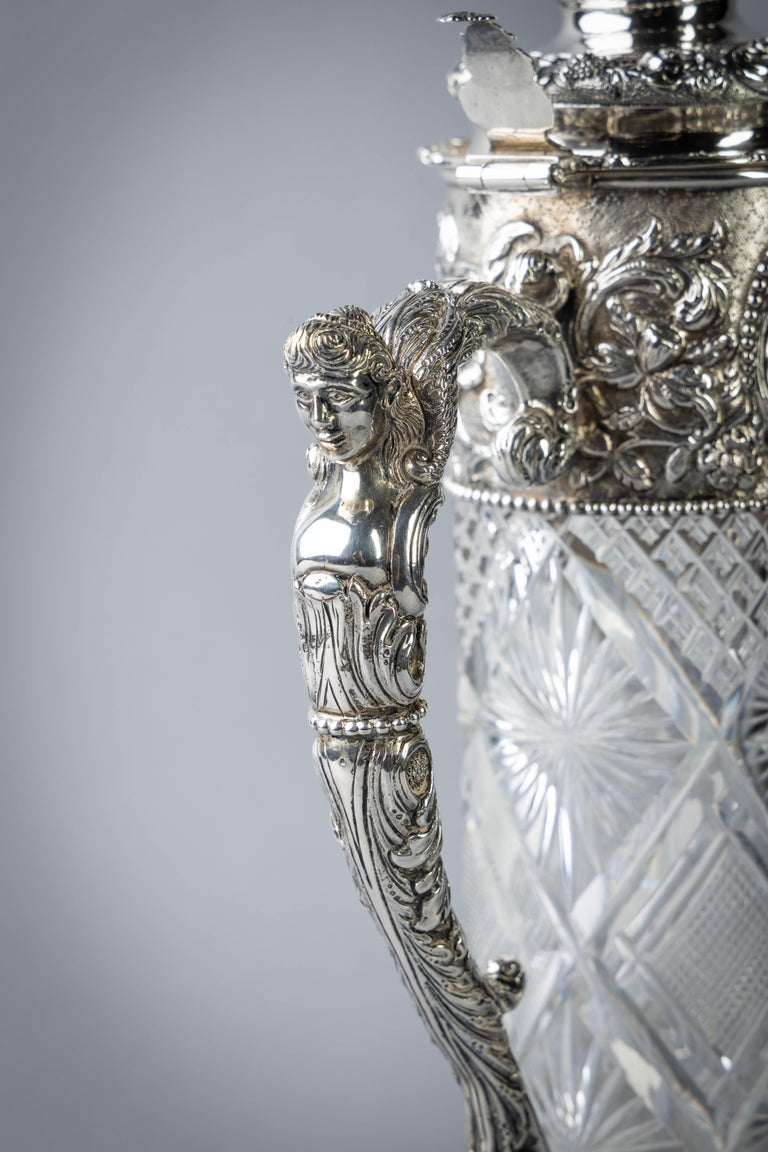 Late 19th Century Very Fine Continental Silver and Cut Crystal Pitcher, Dutch, circa 1880 For Sale