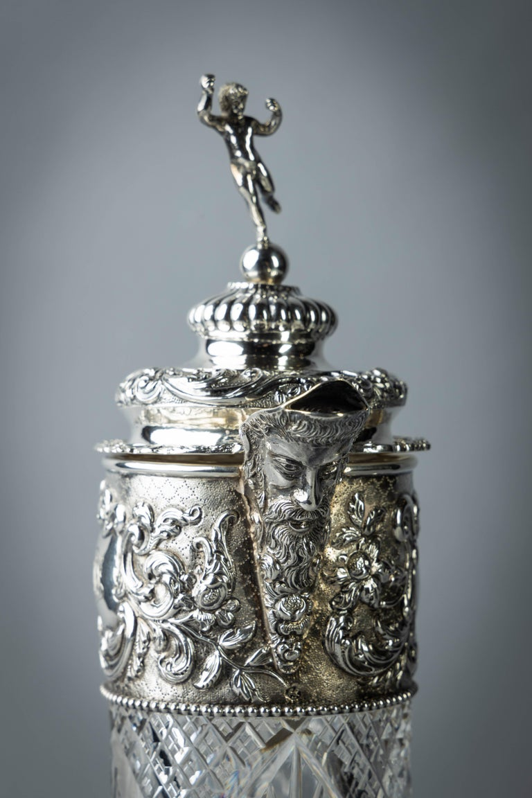 Very Fine Continental Silver and Cut Crystal Pitcher, Dutch, circa 1880 For Sale 1