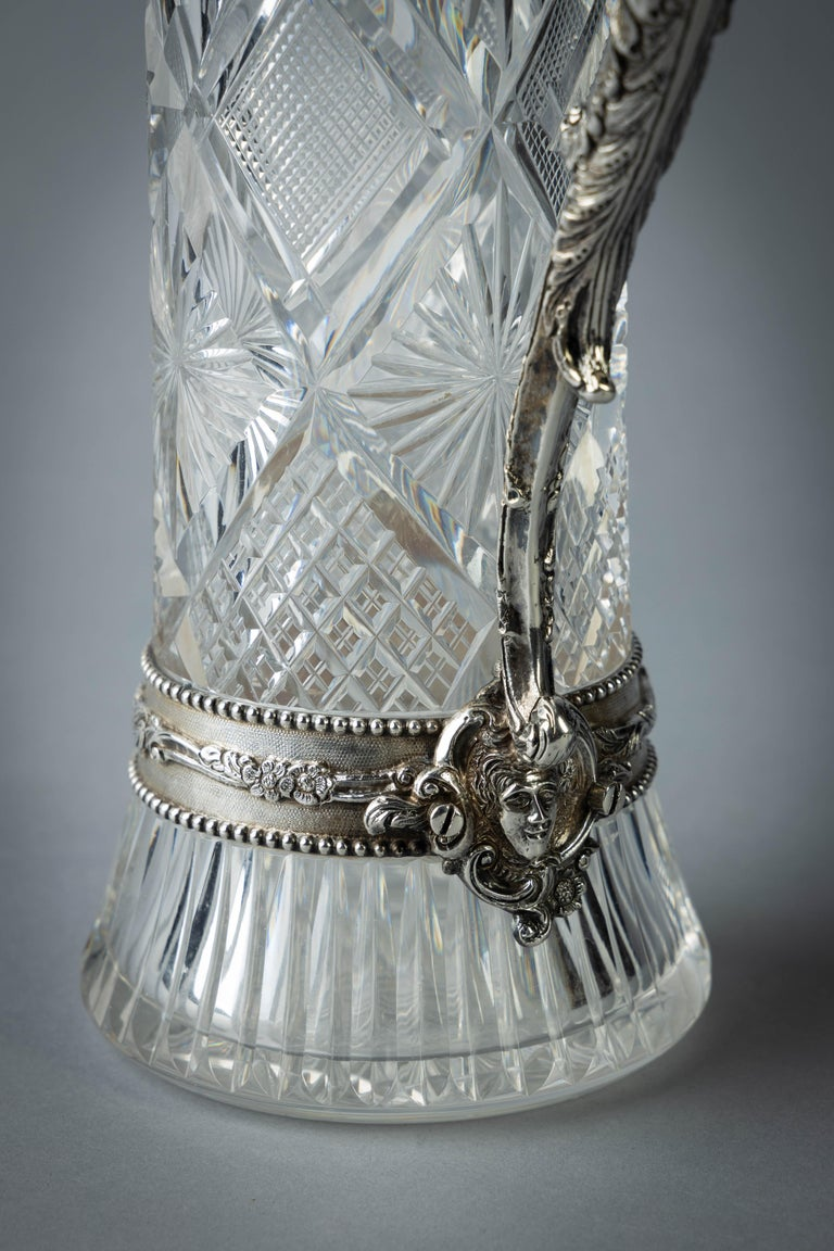 Very Fine Continental Silver and Cut Crystal Pitcher, Dutch, circa 1880 For Sale 3
