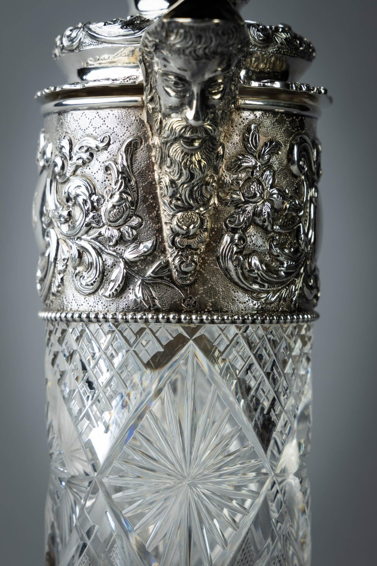 Very Fine Continental Silver and Cut Crystal Pitcher, Dutch, circa 1880 For Sale 4
