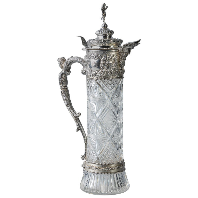 Very Fine Continental Silver and Cut Crystal Pitcher, Dutch, circa 1880 For Sale
