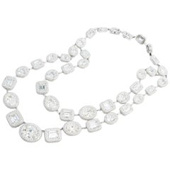 Very Fine Gem Set Cubic Zirconia Two Layer Silver Necklace