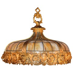 Very Fine Gilt Bronze and Slag Glass Hanging Lamp