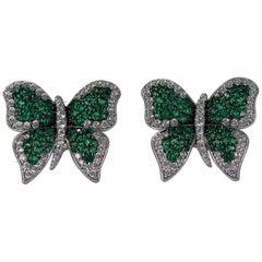 Very Fine Green Butterfly Earrings