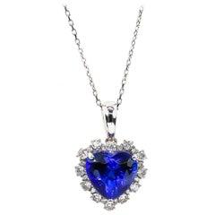 Very Fine Heart Tanzanite Pendant 3.66 Carat with Diamonds 0.37 Carat 18K Gold