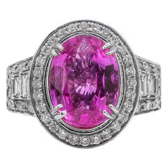 Very Fine Hot Pink 4.54 Carat Sapphire Ring with Diamonds