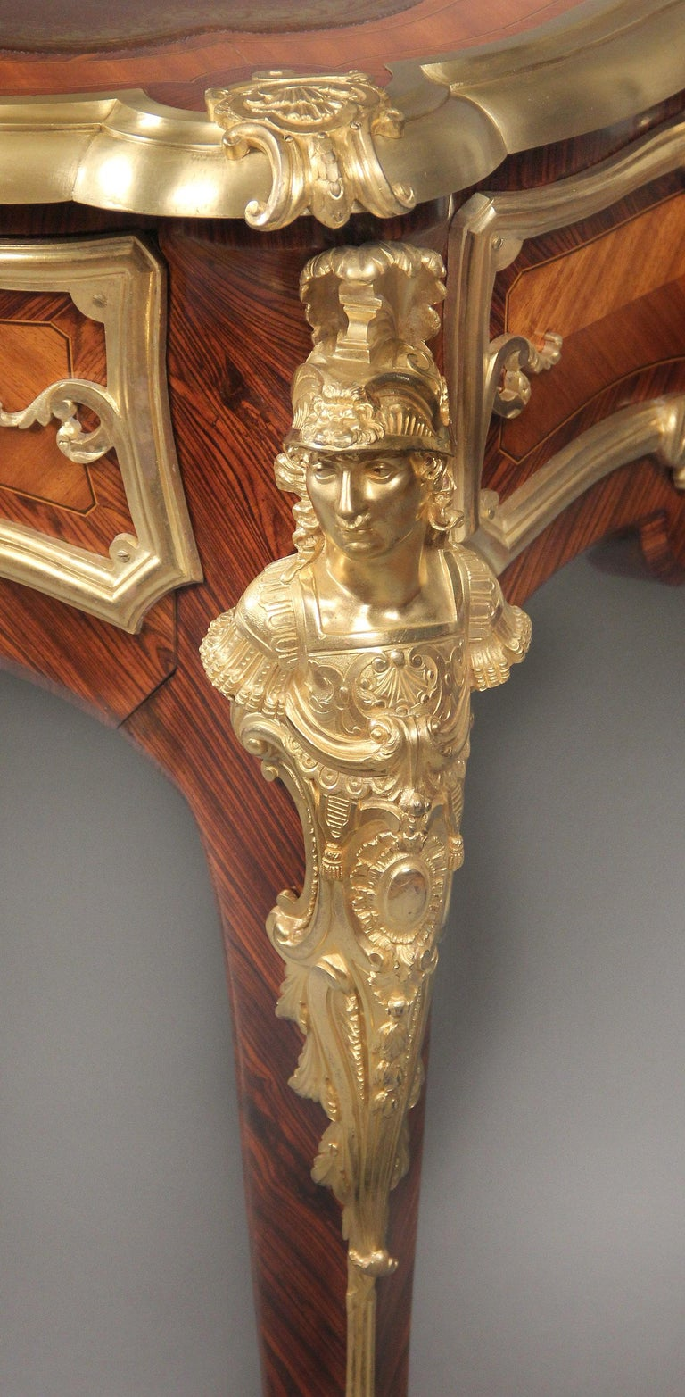 French Very Fine Late 19th Century Gilt Bronze Mounted Kingwood Bureau Plat For Sale