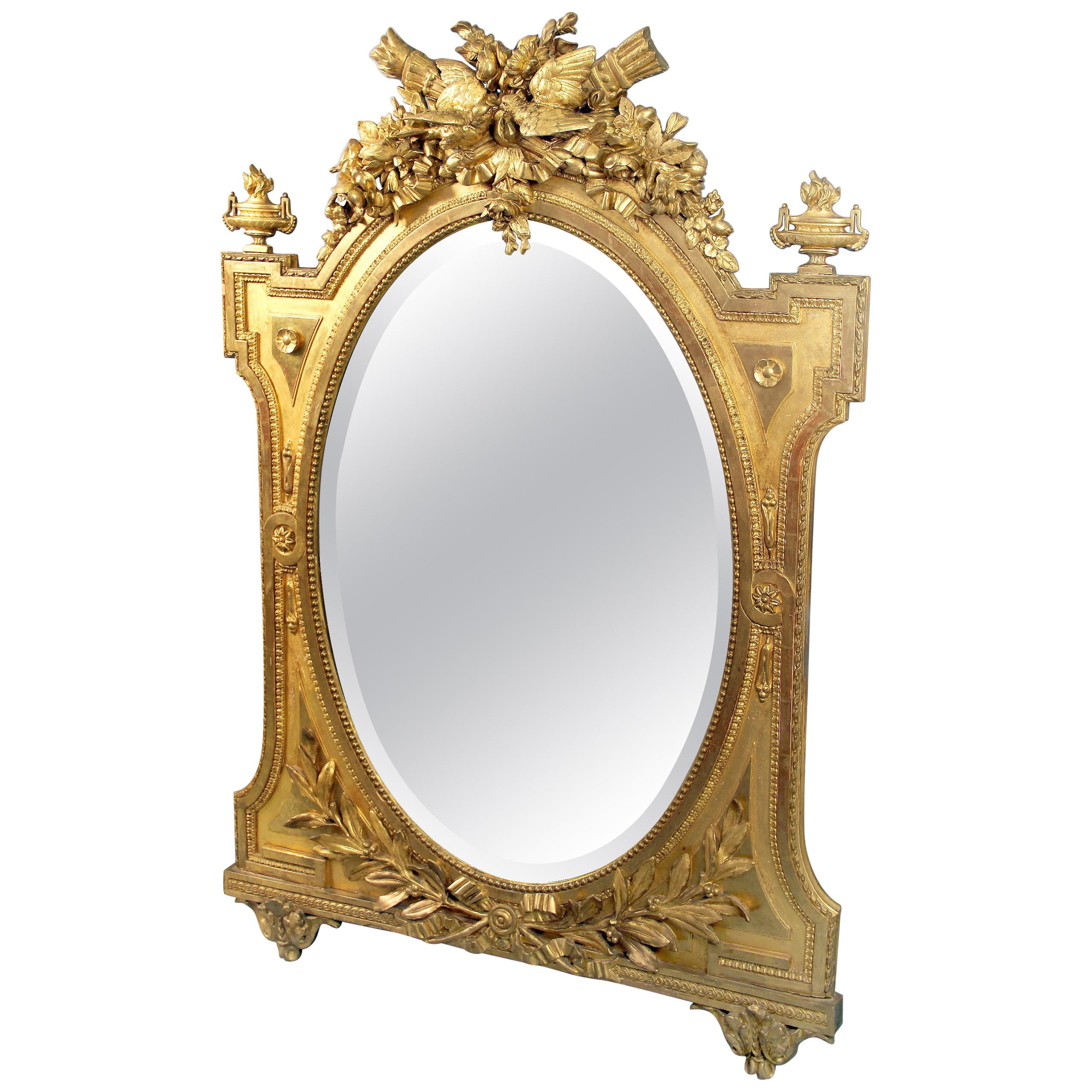 Very Fine Late 19th Century Napoleon III Hand-Carved Giltwood Mirror