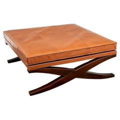 Very Fine Leather Top X Base Table/ Ottoman
