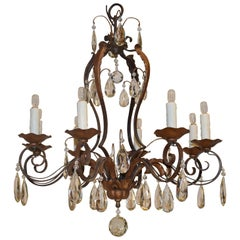 Very Fine Louis XV Style Provincial Iron and Crystal Chandelier
