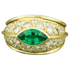 Very Fine Marquise Emerald and Diamond Ring in 18k