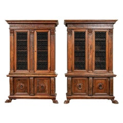 Very Fine Matched Pair of Antique Italian Carved Cabinets with Grille Work Doors