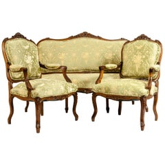Very Fine Mid-19th Century Mahogany Wood Frame Salon Suite