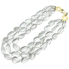 Very Fine Multi Strand Rock Quartz Crystal Necklace - 18K Gold