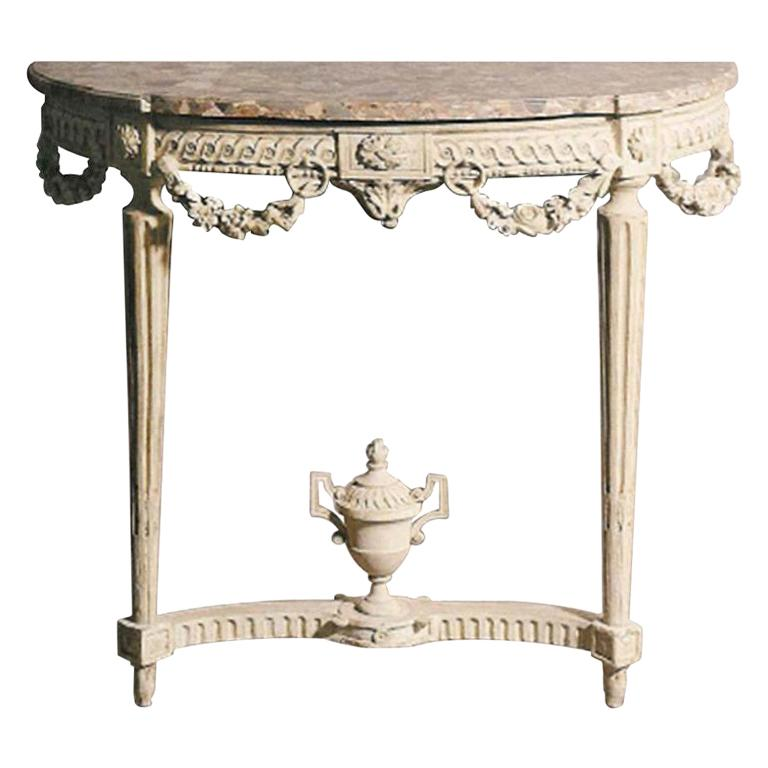 Very Fine Painted Louis XVI Demilune Console with Marble Top For Sale