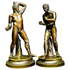 Very Fine Pair of 19th Century Grand Tour Miniature Bronzes of The Pugilists