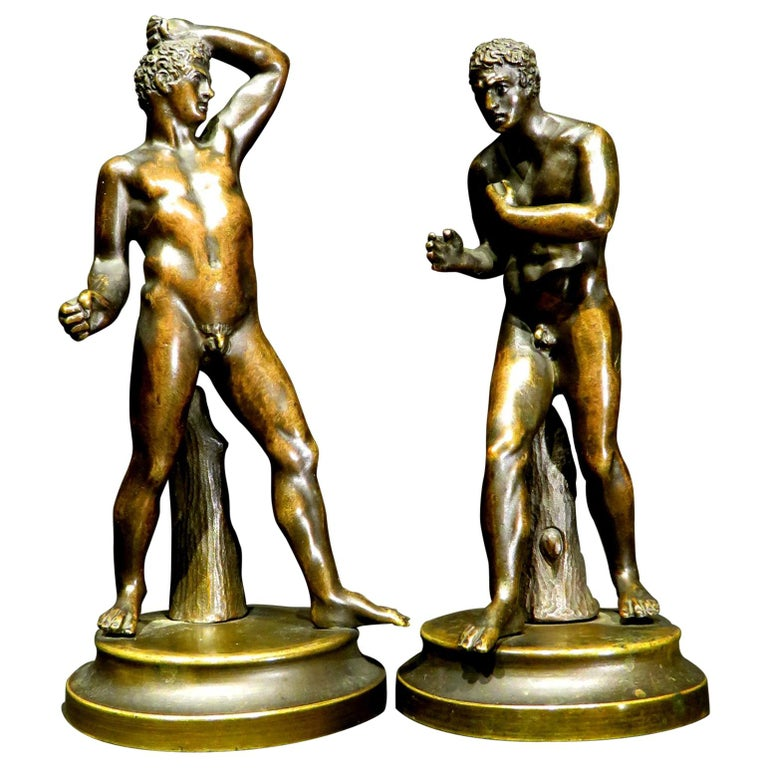 Finely Cast Pair of 19th Century Grand Tour Miniature Bronzes of The Pugilists