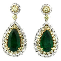 Very Fine Pair of Emerald and Diamond Earrings