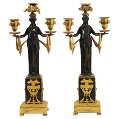 Very Fine Pair of French Empire Figural Three Light Candelabras