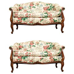 Very Fine Pair of French Style Vintage Love Seats in a Custom Floral Chintz Fabr
