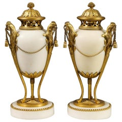 Very Fine Pair of Gilded Bronze and White Marble Covered Urns
