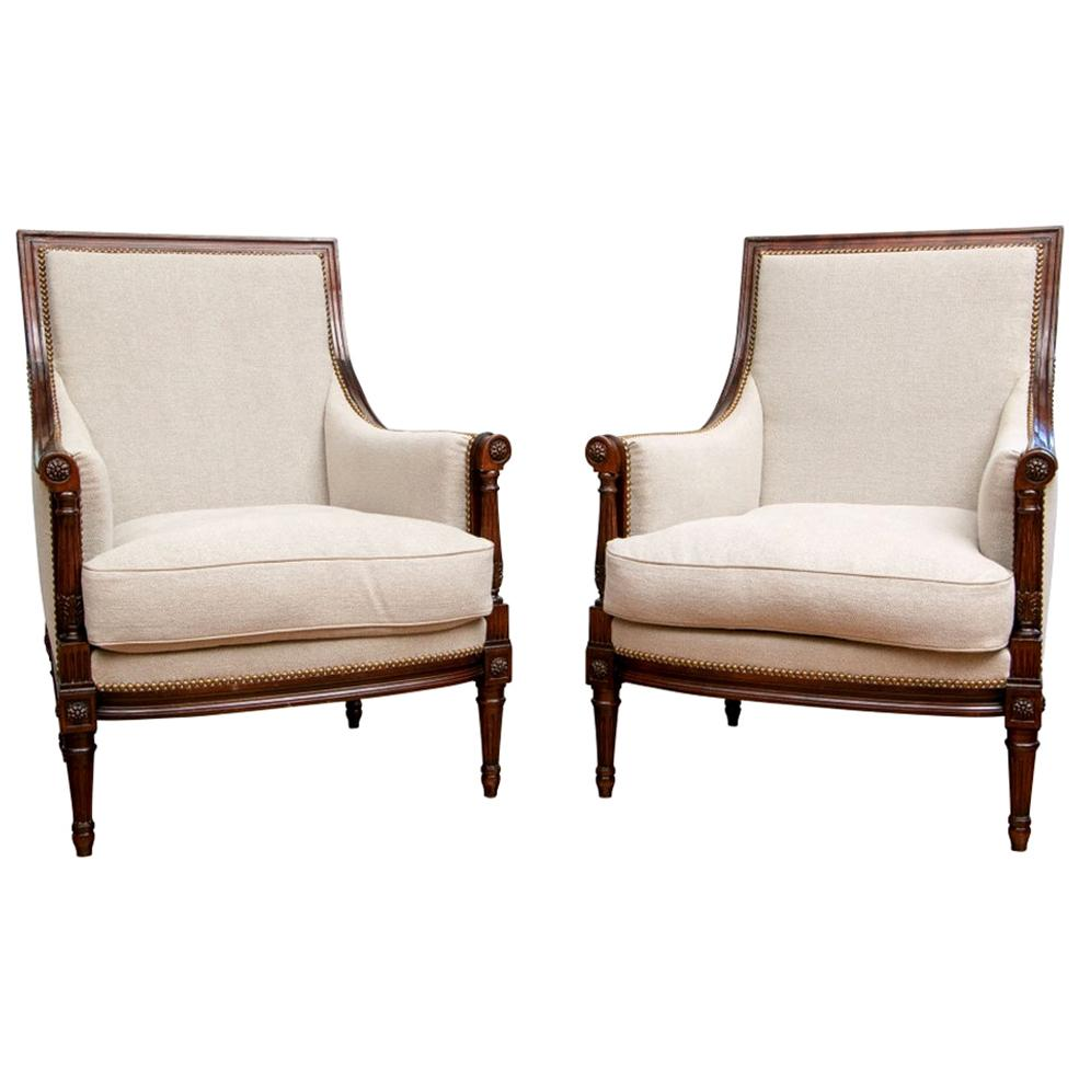 Very Fine Pair of Louis XVI Style Bergères