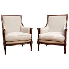 Very Fine Pair of Louis XVI Style Bergères