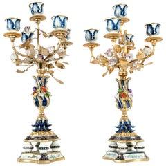 Very Fine Pair Sèvres Porcelain Five Arms Candelabra