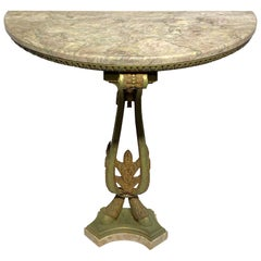 Very Fine Quality French Bronze Marble-Top Demilune Console Table
