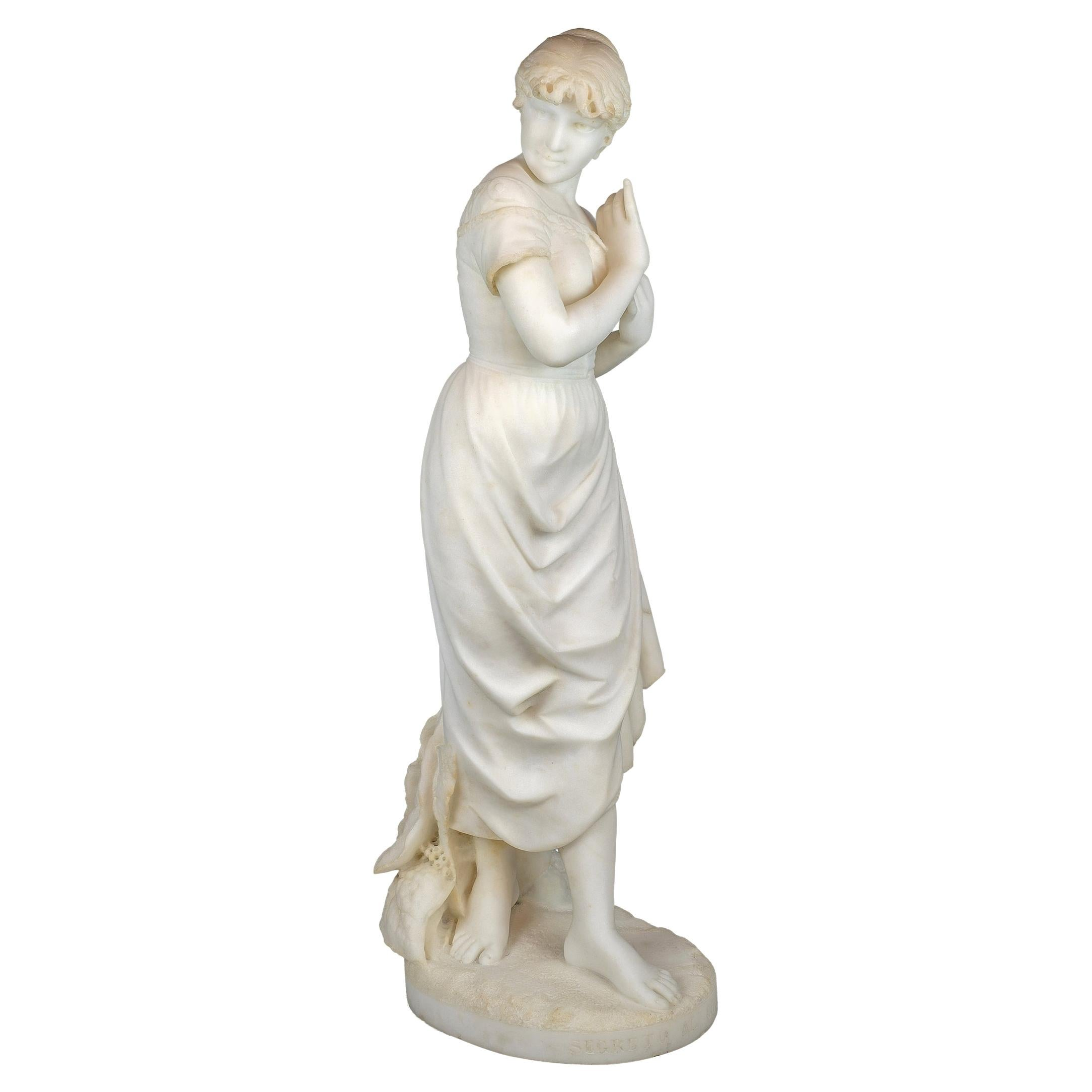 White Marble Sculpture Statue of a Maiden by Cesare Lapini