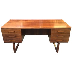 Very Fine Rosewood Midcentury Danish Desk by Henning Jensen and Torben Valeur