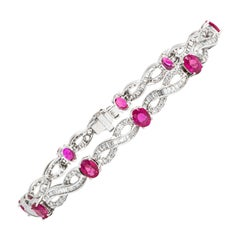 Very Fine Ruby and Diamond Bracelet 18 Karat Gold