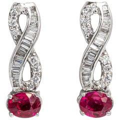Very Fine Ruby Earrings with Diamonds 18 Karat Gold