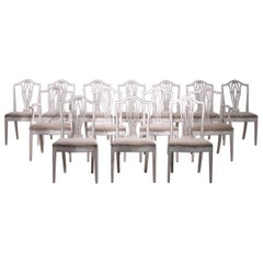 Very Fine Set of 14 Gustavian Chairs