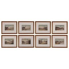 Very Fine Set of Eight Watercolors of the Production of Silk, Mid-19th Century