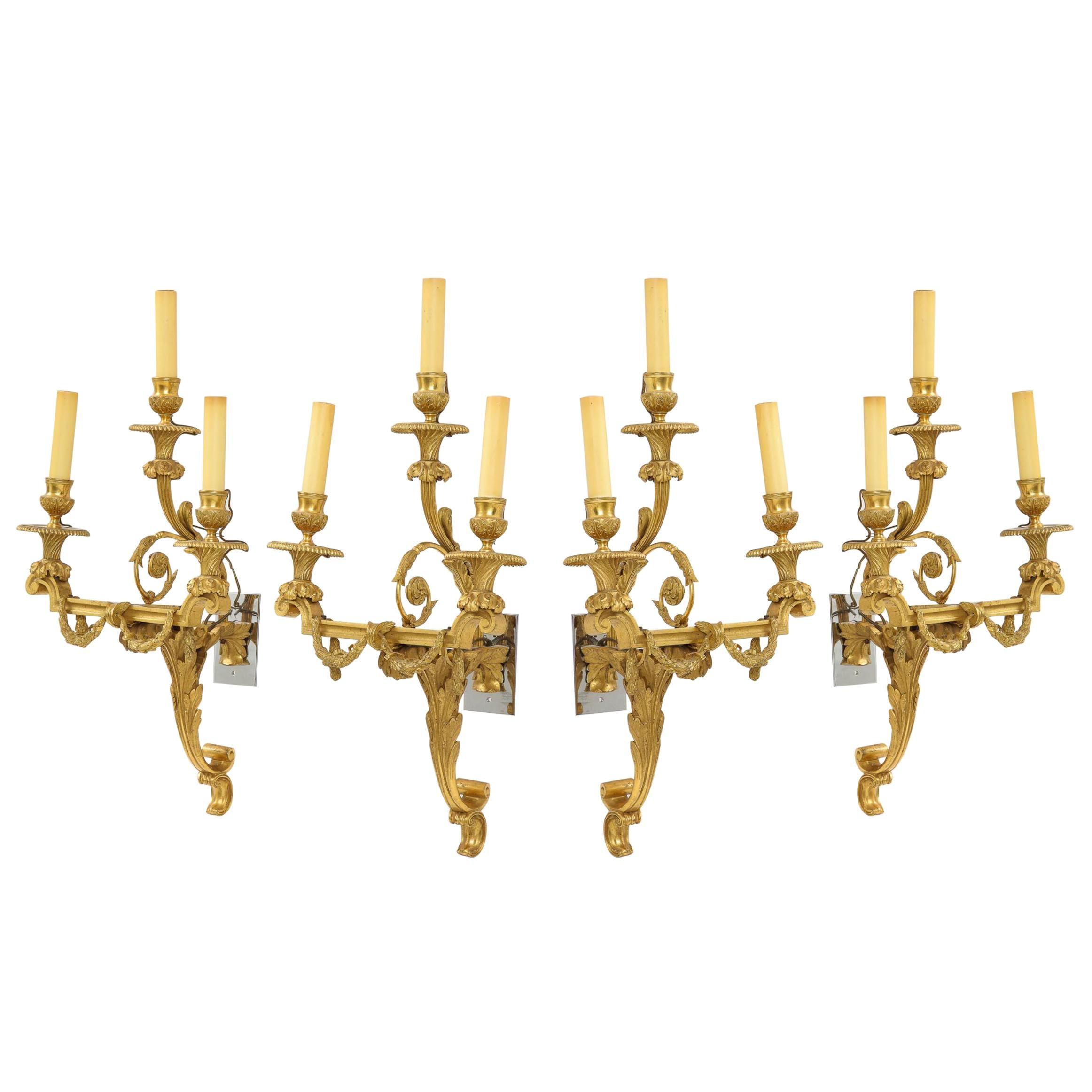 Very Fine Set of Four Gilt Bronze Louis XVI Sconces