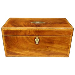 Very Fine Signed Early 19th Century Inlaid Mahogany Tea Caddy, U.K  Dated 1815