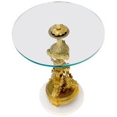 Very Fine Solid Bronze and Marble Base Glass Top Stand End Side Center Table