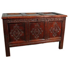 Very Good 17th Century Oak Coffer Boldly Carved, Initialled and Dated 1675