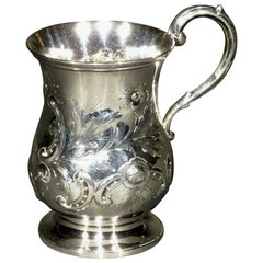 Very Good and Heavy 19th Century Sterling Silver Christening Mug, London 1866