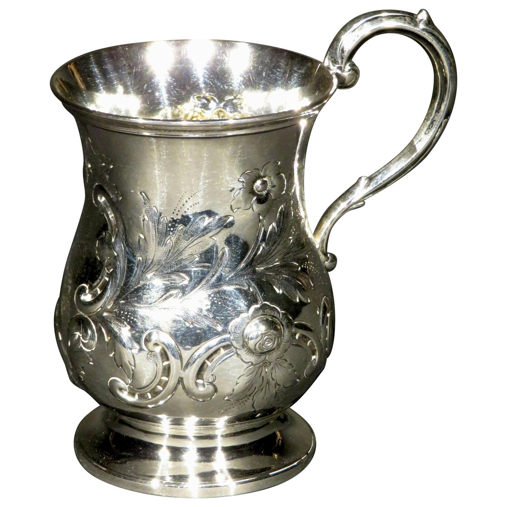 Very Good & Heavy 19th Century Sterling Silver Christening Mug, London 1866