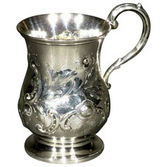 Very Good & Heavy 19th Century Sterling Silver Christening Mug, London 1866