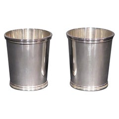 Very Good & Heavy Pair of Sterling Silver Mint Julep Cups, Manchester Silver Co.