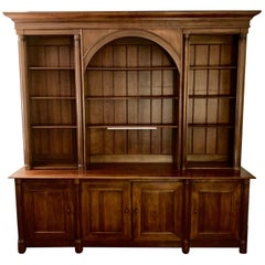 Very Grand Cherry Triple Bookcase Breakfront Cabinet by Henredon