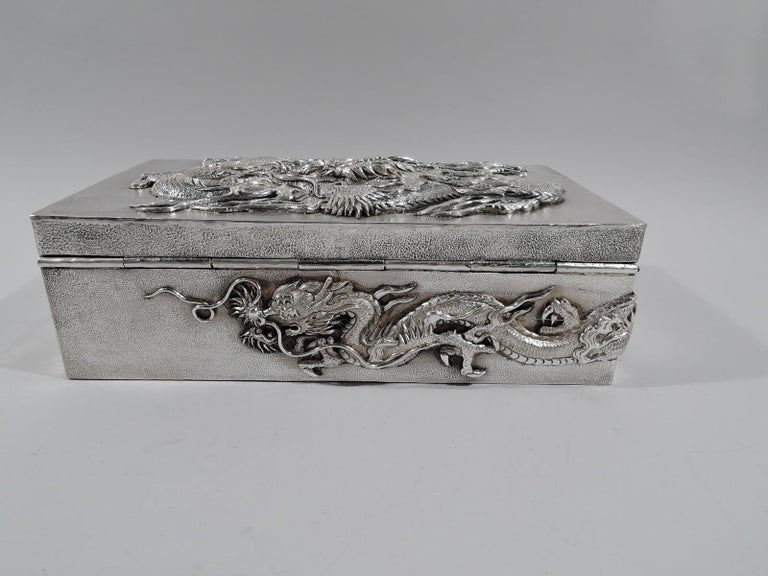 Very Heavy Japanese Silver Dramatic Dragon Box by Samurai Shokai In Excellent Condition For Sale In New York, NY