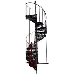 Very high 19th Century Cast Iron Spiral Staircase