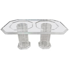 Very High Quality, Elegant, Massive Luxury Dining Table with 2 Columns