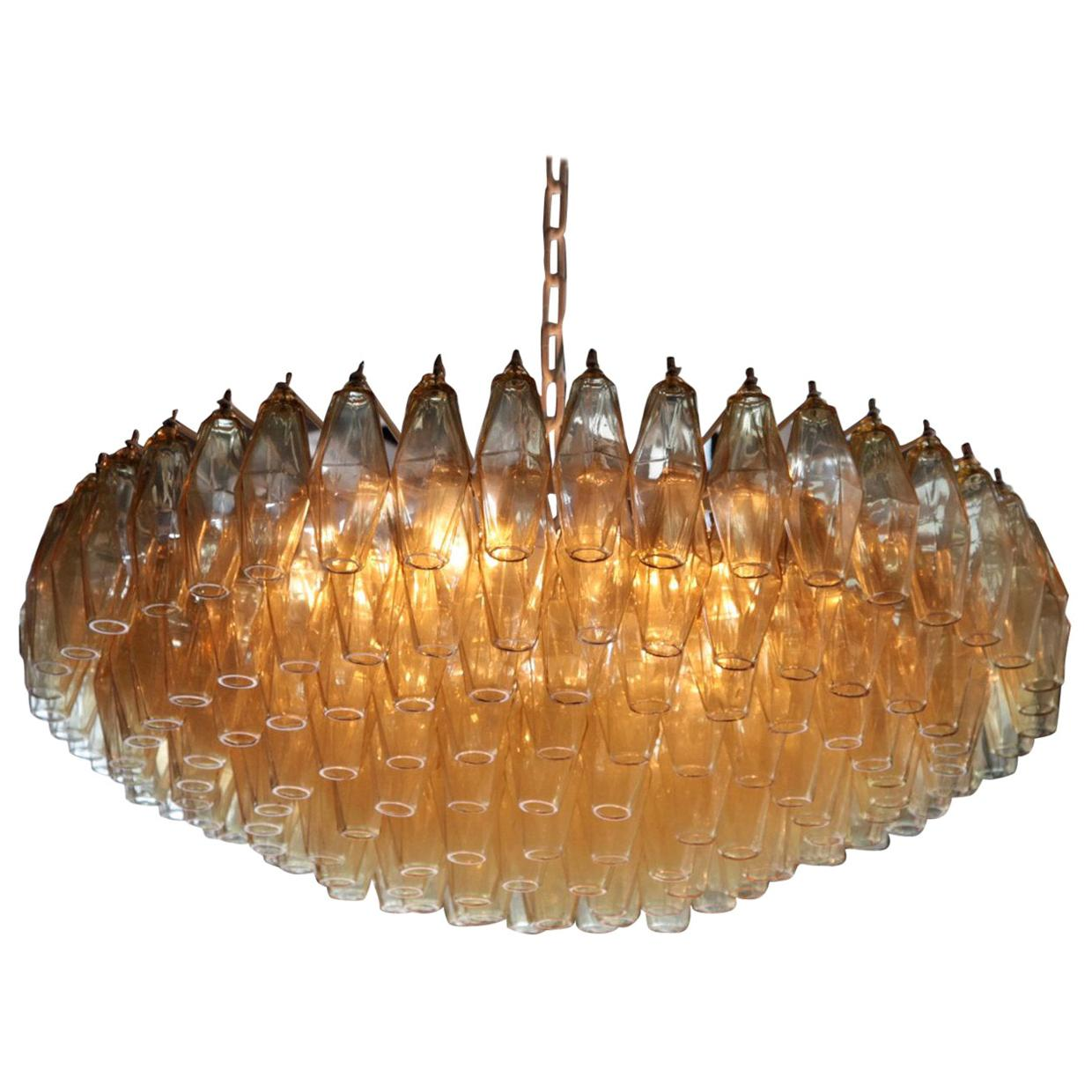 Very Huge Amber Polyhedral Murano Glass Chandelier